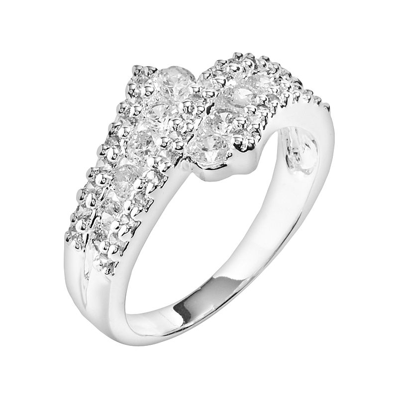 Silver Plate Cubic Zirconia Bypass Ring