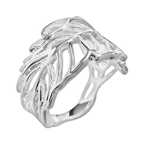 Silver Plate Openwork Leaf Ring