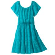My Michelle Belted Lace Peasant Dress - Girls 7-16