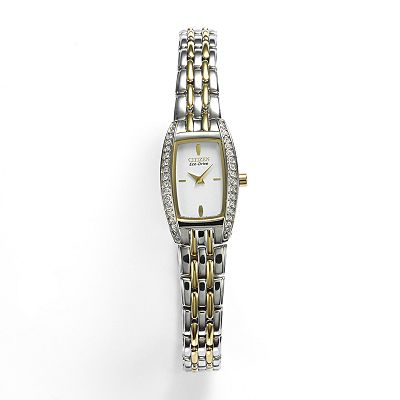 Citizen Eco-Drive Two Tone Stainless Steel Crystal Watch - Made with Swarovski Elements - EG2744-52A - Women