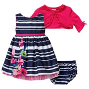 Youngland Striped Dress and Cardigan Set - Newborn