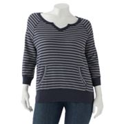 SONOMA life + style Striped French Terry Sweatshirt - Women's Plus
