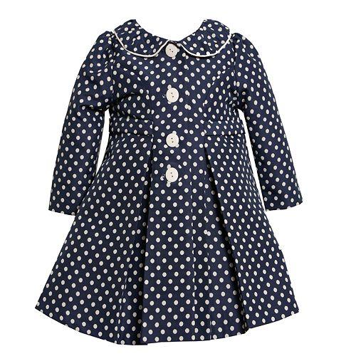 979011730 Bonnie Jean Jacquard Polka-Dot Coat & Dress Set - Girls 4-6x