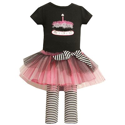 Bonnie Jean Birthday Cake Tutu Tunic and Striped Leggings Set - Girls 4-6x