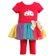 Bonnie Jean Cupcake Tutu Tunic and Leggings Set - Girls 4-6x