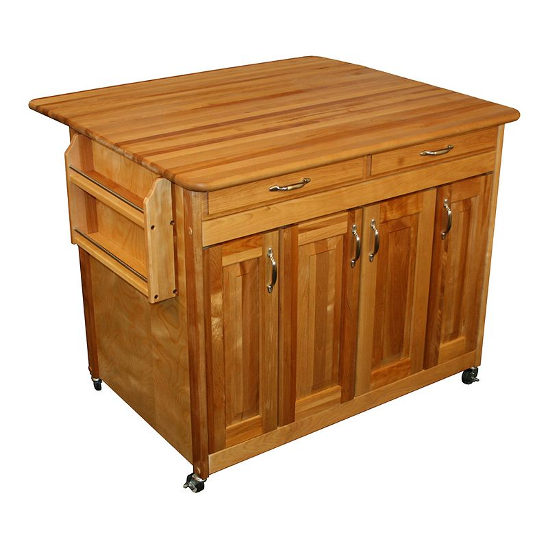 Catskill Craftsmen Butcher Block Top Drop Leaf Kitchen Cart, Brown