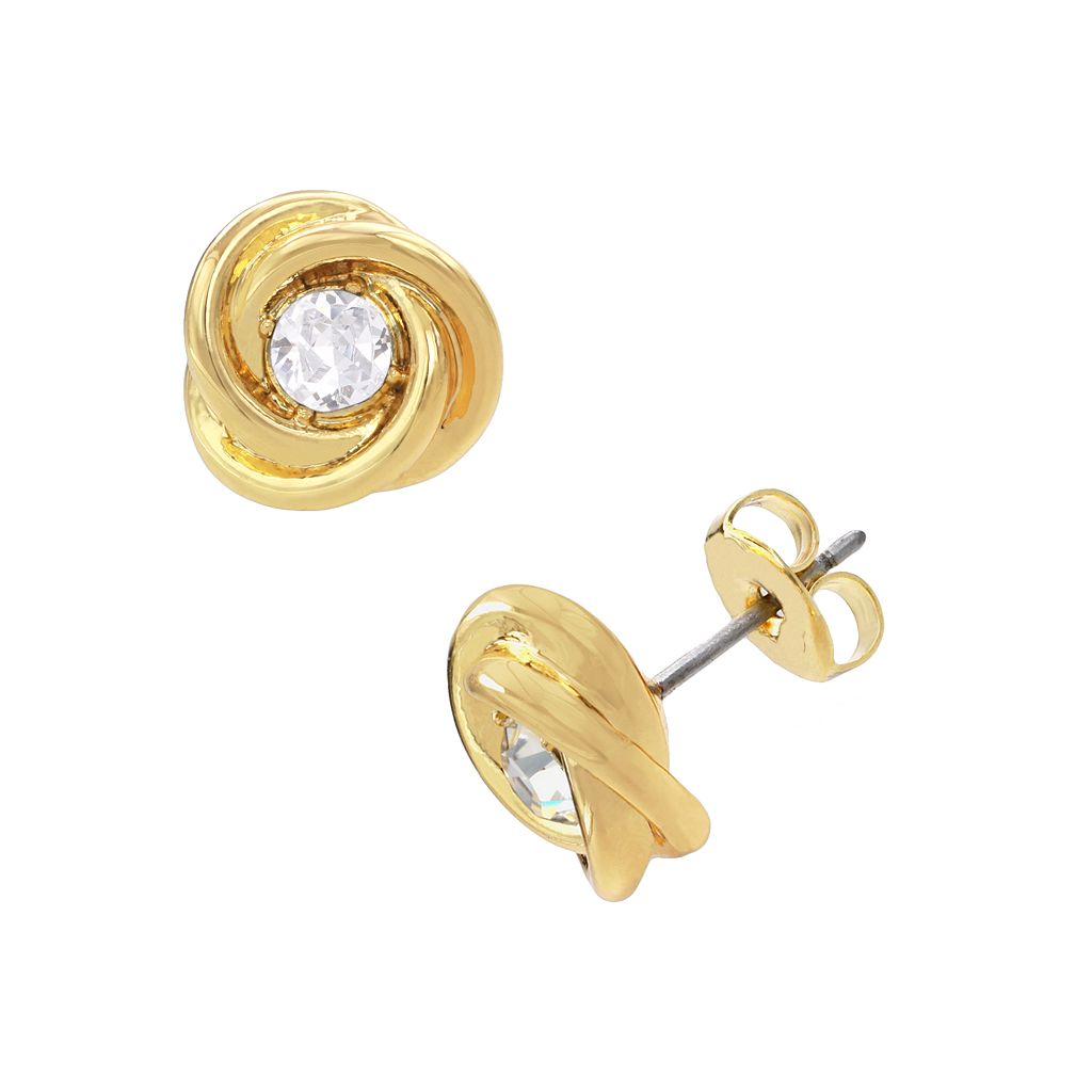 14k Gold-Plated Crystal Love Knot Stud Earrings