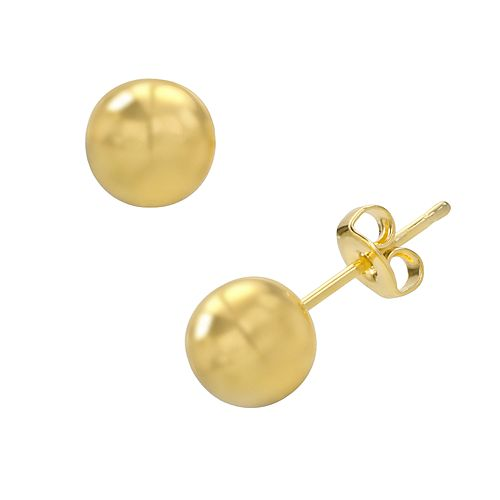 14k Gold-Plated Ball Stud Earrings