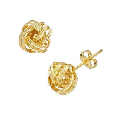 14k Gold Plated Love Knot Button Stud Earrings