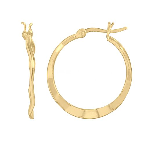 14k Gold Plated Wavy Hoop Earrings