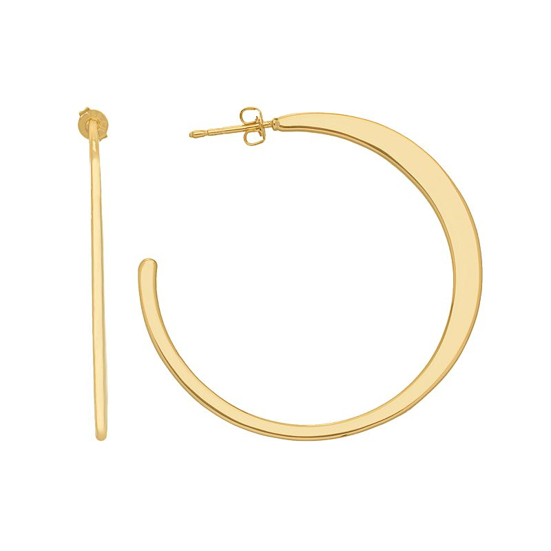 14k Gold Plated Crescent Hoop Earrings, Women's, Yellow