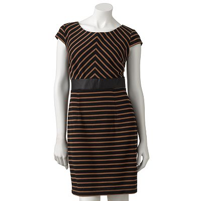 AB Studio Striped Empire Dress - Petite