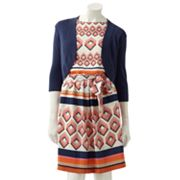Jessica Howard Geometric Blouson Dress and Shrug Set