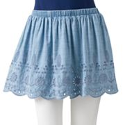 SO Eyelet Chambray Skirt - Juniors