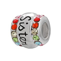 Individuality Beads Sterling Silver Crystal 'Sister' Bead