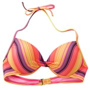 Mudd Striped Push-Up Underwire Halter Bikini Top