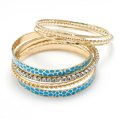 Apt. 9 Simulated Crystal Textured Giraffe Bangle Bracelet Set