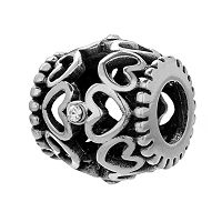 Individuality Beads Sterling Silver Crystal Openwork Heart Bead