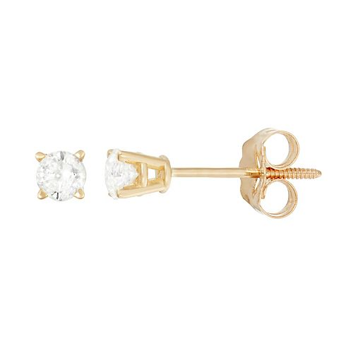 14k Gold 1/4-ct. T.W. Round-Cut Diamond Solitaire Earrings