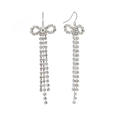 Candie's Silver Tone Simulated Crystal Bow Linear Drop Earrings
