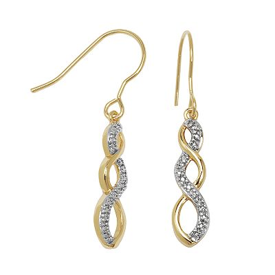 18 Gold Over Brass and Silver Plate Diamond Accent Twist Drop Earrings