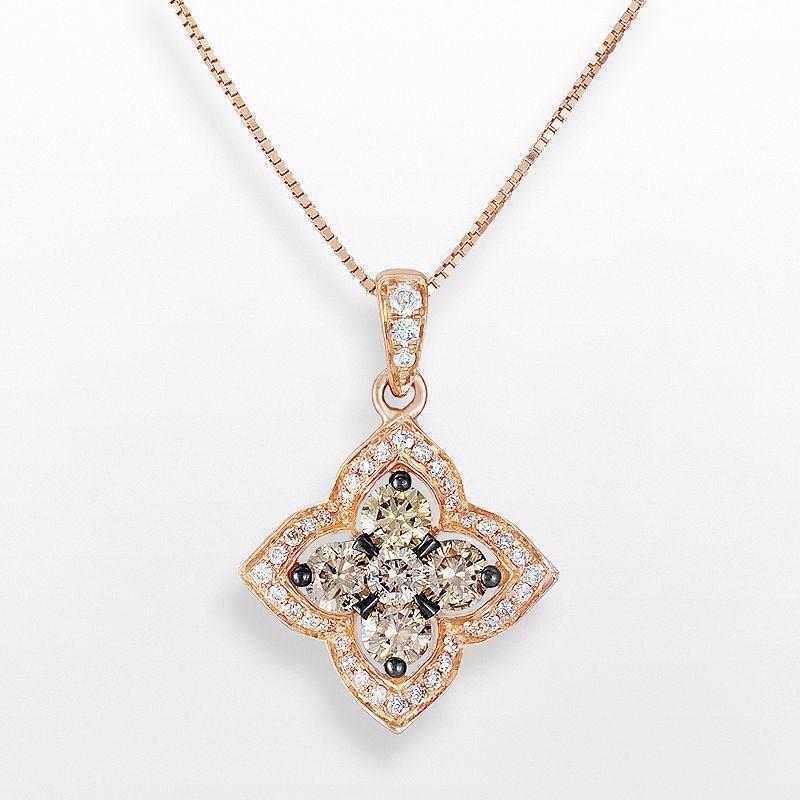 Espresso Natural Color Diamonds 10k Rose Gold 1/2-ct. T.W. Brown & White Diamond Lotus Flower Pendant
