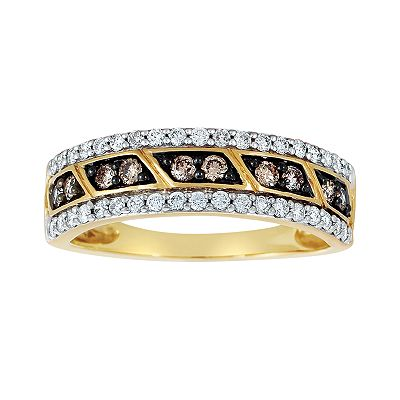 Espresso Natural Color Diamonds 10k Gold 1/2-ct. T.W. Brown and White Diamond Ring