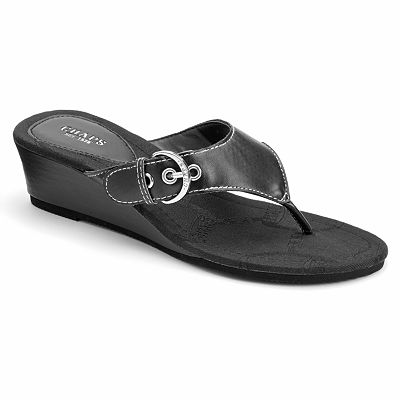Chaps Signature Buckle Wedge Flip-Flops