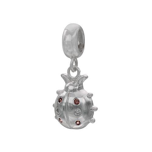 Individuality Beads Sterling Silver Garnet & Diamond Accent Ladybug Bead