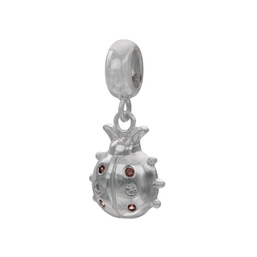 Individuality Beads Sterling Silver Garnet and Diamond Accent Ladybug Bead