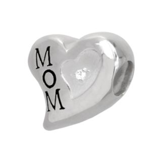 Individuality Beads Sterling Silver Diamond Accent Mom Heart Bead