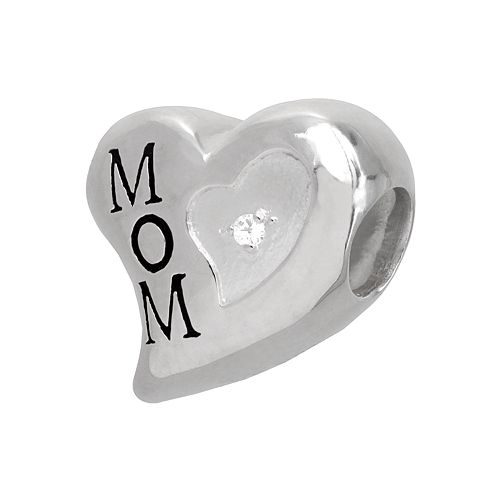 """Individuality Beads Sterling Silver Diamond Accent """"Mom"""" Heart Bead"""