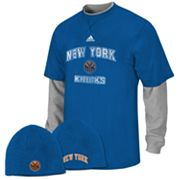 adidas New York Knicks Mock-Layer Tee and Knit Cap Set - Boys 8-20