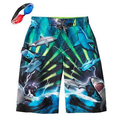 ZeroXposur 3D Shark Frenzy Swim Trunks - Boys 8-20