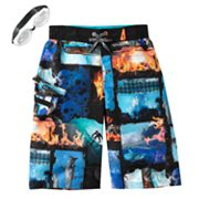 ZeroXposur Burnt Photo Swim Trunks - Boys 8-20