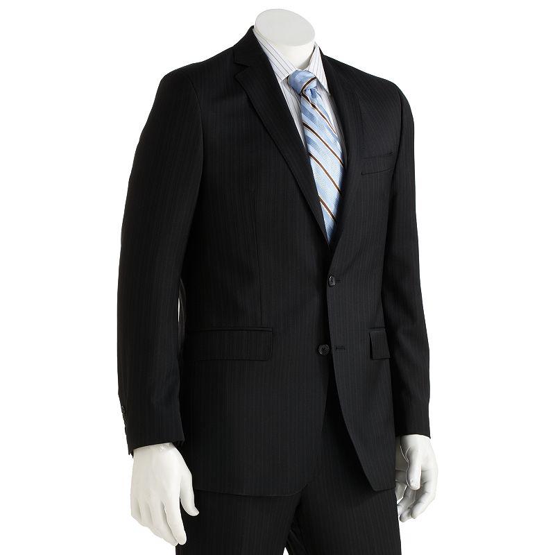 Marc Anthony Slim-Fit Pinstripe Wool Black Suit Jacket