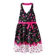 Jessica Ann Cherry Dot Halter Sundress - Girls 7-12