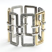 Jennifer Lopez Tri-Tone Simulated Crystal Rectangle Link Bracelet