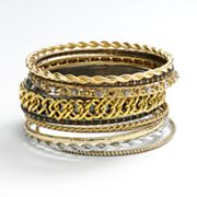 Jennifer Lopez Tri-Tone Simulated Crystal Bangle Bracelet Set