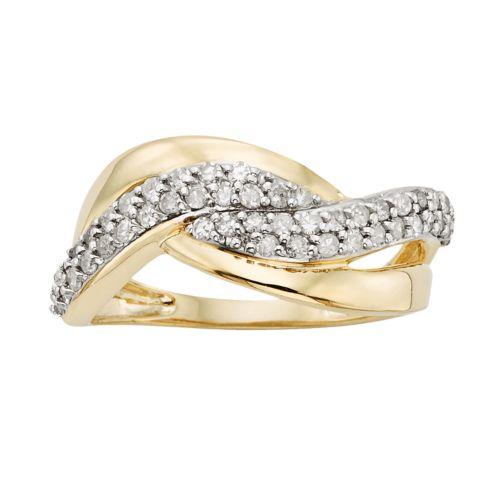 YellOra 1/2-ct. T.W. Diamond Twist Ring