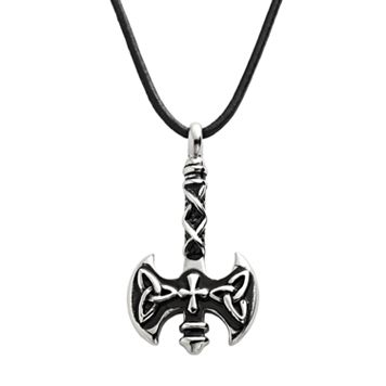 Stainless Steel & Leather Ax Pendant - Men