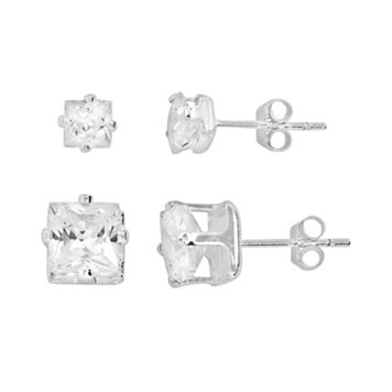 Silver Plated Cubic Zirconia Stud Earring Set