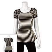 IZ Byer California Stripe Lace Back Peplum Top - Juniors
