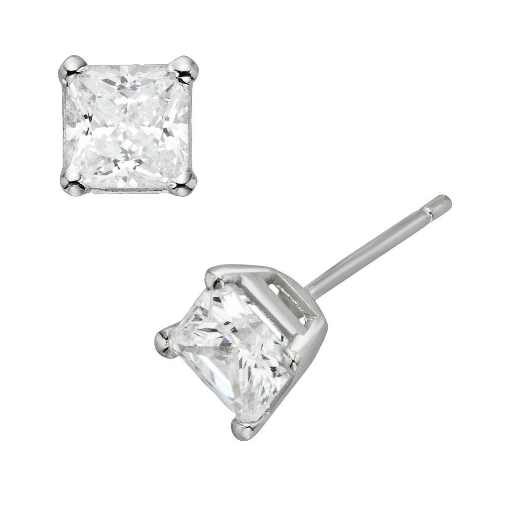 Diamonore Sterling Silver 1 1/2-ct. T.W. Simulated Diamond Princess Stud Earrings