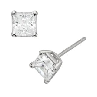Diamonore Sterling Silver 1 1/2-ct. T.W. Simulated Diamond Princess Stud Earrings
