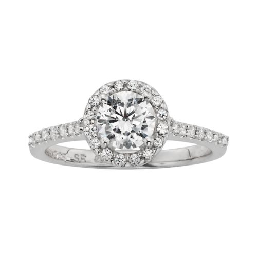Diamonore Simulated Diamond Halo Engagement Ring in Sterling Silver (1 1/2 ct. T.W.)