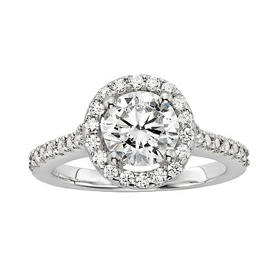 Diamonore Sterling Silver 2-ct. T.W. Simulated Diamond Halo Ring