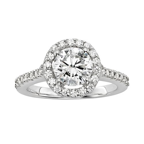 Diamonore Round-Cut Simulated Diamond Halo Engagement Ring in Sterling Silver (2 ct. T.W.)