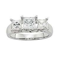 Diamonore Princess-Cut Simulated Diamond 3-Stone Engagement Ring in Sterling Silver (1 ctT.W.)