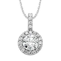 Diamonore Sterling Silver 2-ct. T.W. Simulated Diamond Halo Pendant